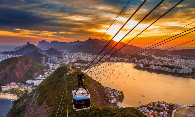 Urca (on the left), Botafogo (center) and Flamengo (on the right) from Sugarloaf at Sunset, Rio de Janeiro