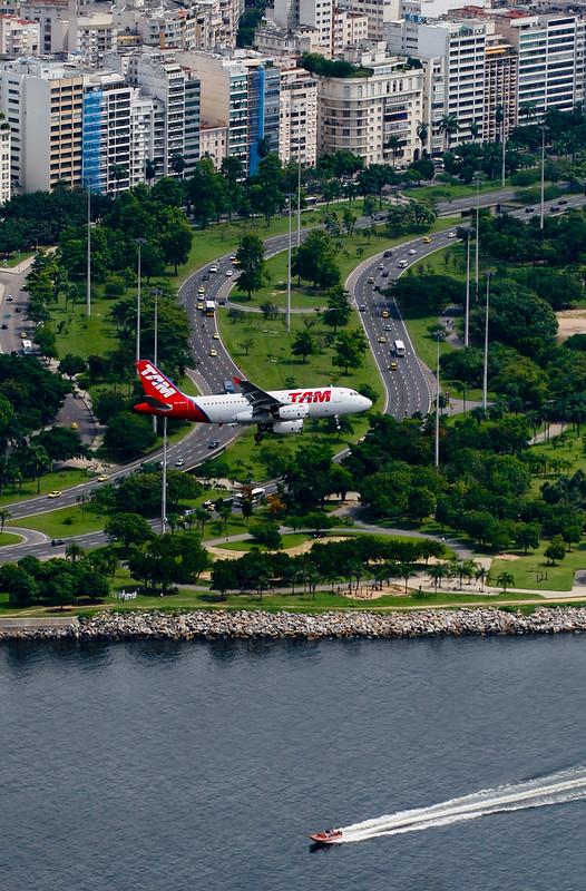 Plane Landing at Santos Dumont Airport, Rio de Janeiro, Brazil