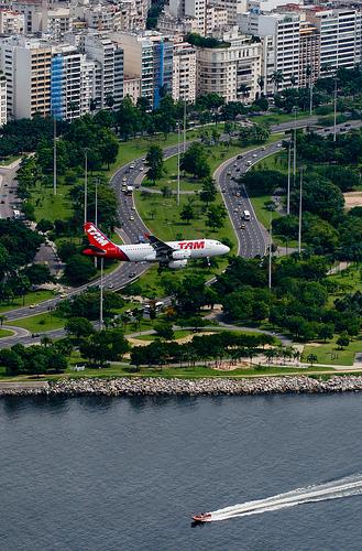 A TAM plane landing at Santos Dumont Airport in Rio de Janeiro