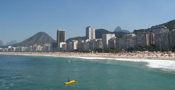 The Beach at Copacabana in Rio de Janeiro, Brazil