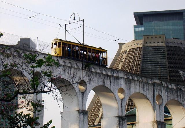 Arcos da Lapa, Bonde e Catedral Metropolitana Metropolitana, Rio de Janeiro, Brazil