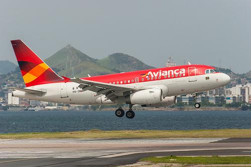 Avianca Airbus A318 landing at Santos Dumont Airport in Rio de Janeiro