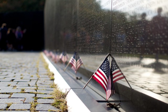 US Flags at the Vietnam Veterans Memorial, Washington, D.C.