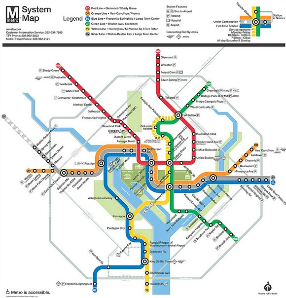 Washington DC Metrorail Map