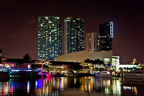 Photo of Bayside Marketplace at Night, Downtown Miami, Florida