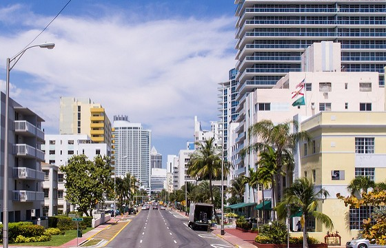 A View of Collins Avenue, Miami Beach, Florida