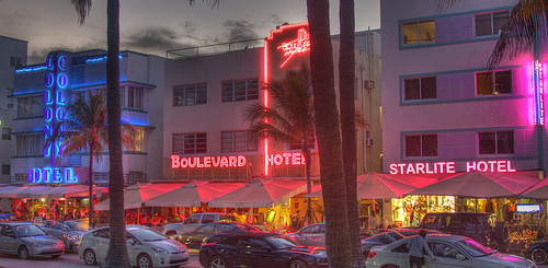 Ocean Drive in the Evening, Miami Beach