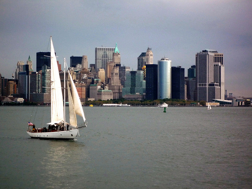 A Photo of Shearwater Schooner sailing NY Harbour, looking to Downtown