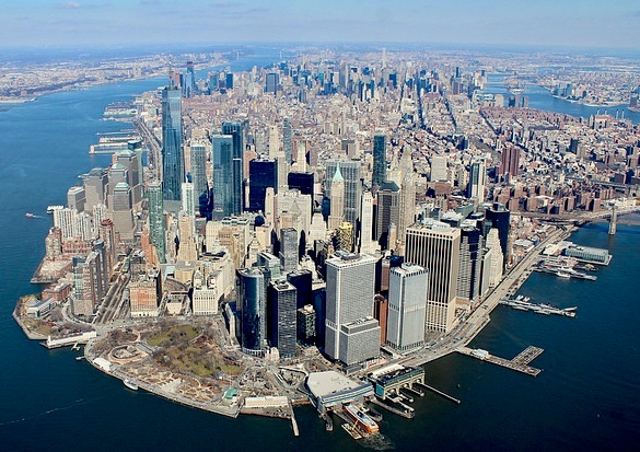 Heli View of Downtown Manhattan, New York