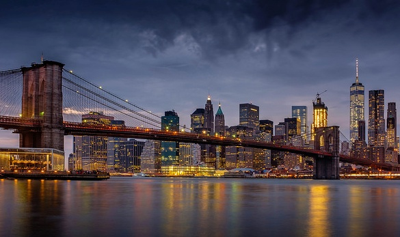 Brooklyn Bridge and Downtown Manhattan in the Evening, New York