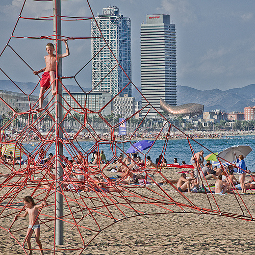 Photo of Children playing on the Beach at Barceloneta