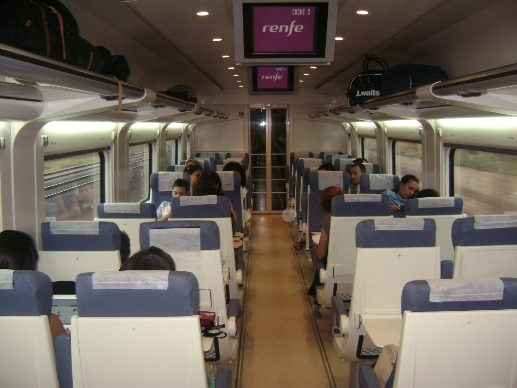 Interior of a AVE fast train in Spain