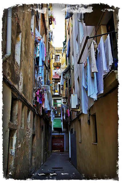 Street in Barceloneta, Barcelona, Spain