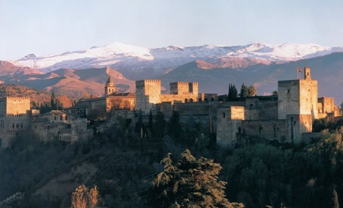 Alhambra and Sierra Nevada from the Albaicín, Granada, Andalusia