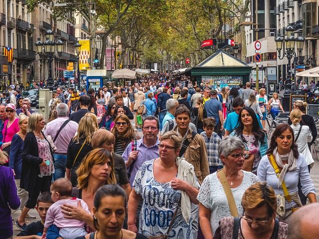 La Rambla in the Afternoon, Barcelona, Spain