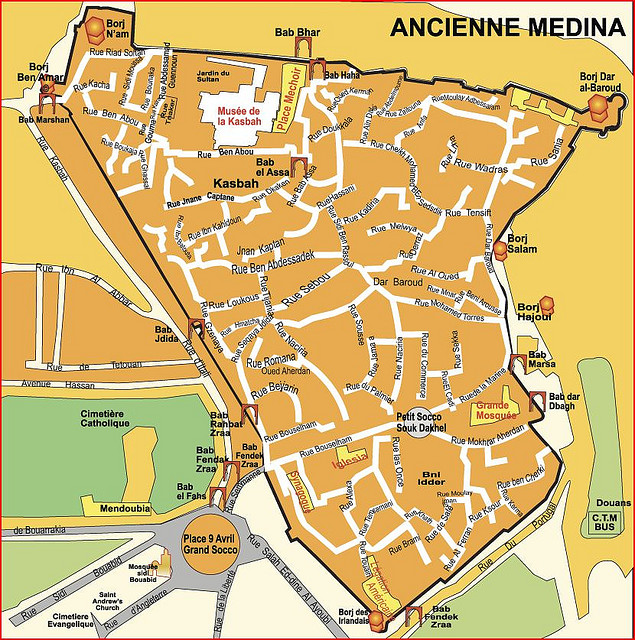 Map of the Old Medina, Tanger, Morocco