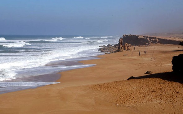 The Beach South of Oualidia near Azalai Beach Cottage, Morocco