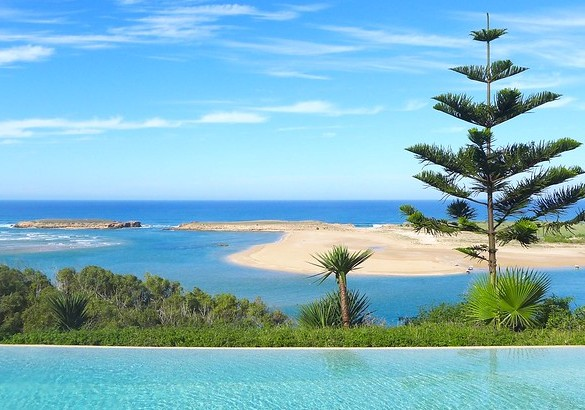 Oualidia Lagoon and Atlantic Ocean from Villa La Diouana, Oualidia, Morocco