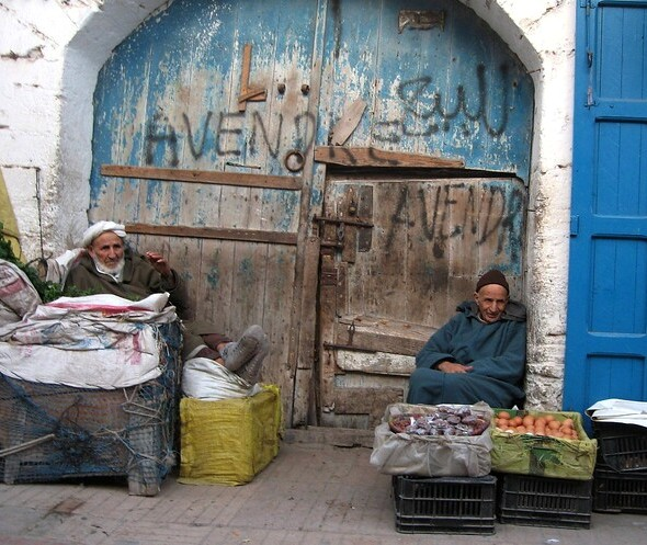 Vendors in the Streets of the Old Medina of Essaouira, Morocco