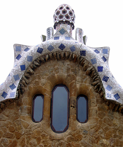 A Gaudi house at Parc Güell, Barcelona, Spain