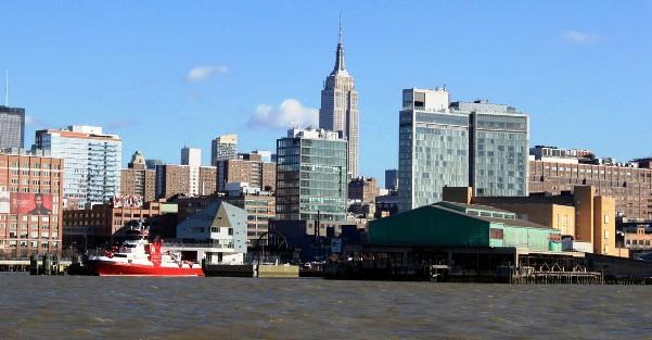 Vista di Manhattan dal Water Taxi, NYC