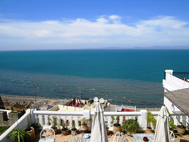 Spain viewed from La Tangerina, Kasbah, Tangier, Morocco