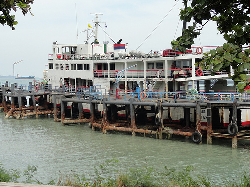 Old Raja Ferry at Donsak Pier near Surat Thani