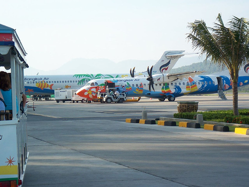 Bangkok Airways Planes at Samui Airport, Thailand