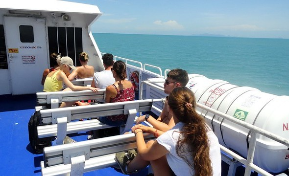 Aboard Lomprayah High Speed Catamaran between Thong Sala Pier in Koh Phangan and Nathon Pier in Koh Samui Thailand