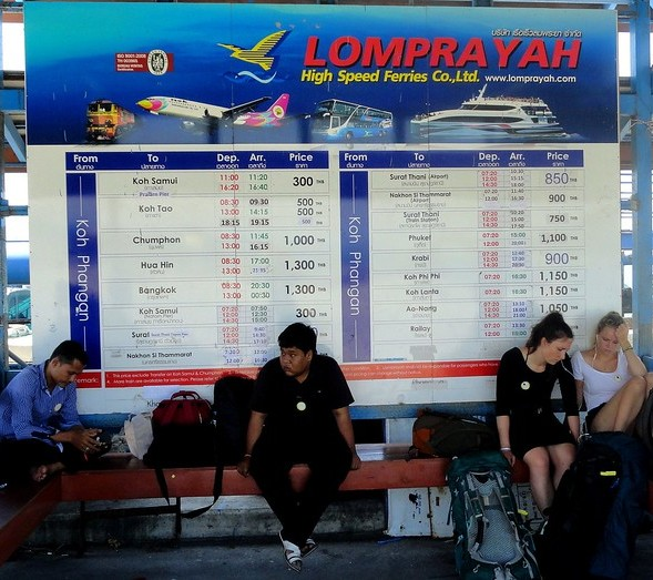 Lomprayah Boat, Van and Bus Schedule at Thong Sala Pier, Koh Phangan, Thailand