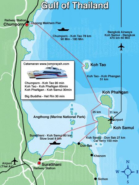 Koh Samui Koh Phangan and Ko Tao Boat Map