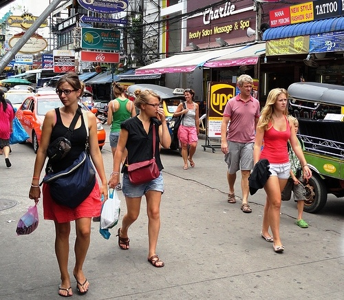 Walking in Khao San Road, Bangkok