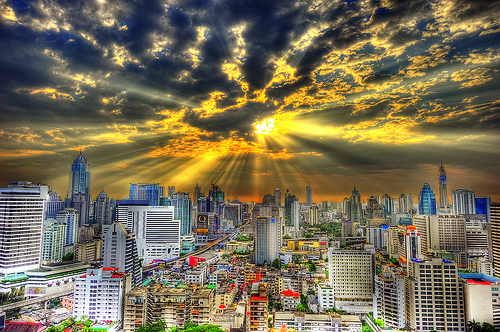 A Great Photo of Bangkok at Sunet, Thailand