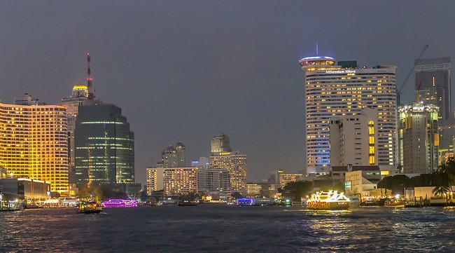 Chao Phraya River with Royal Orchid Sheraton (left) and Millennium Hilton (right), Riverside, Bangkok, Thailand