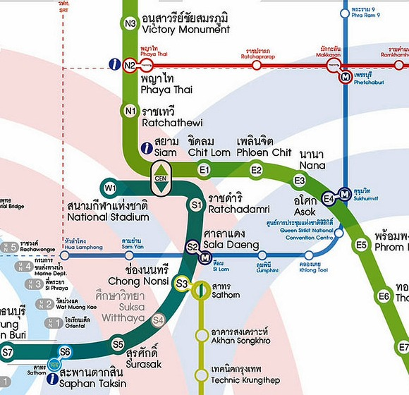 Central Bangkok Transportation Map