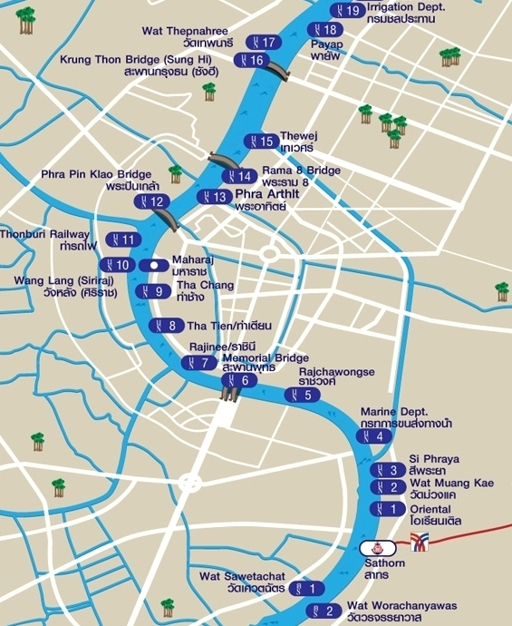 Chao Phraya River, Map of the Piers in the central section of Bangkok
