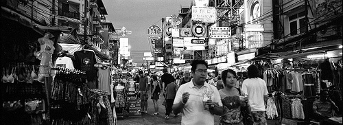 A Photo of Khao San Road at Night in Bangkok, Thailand