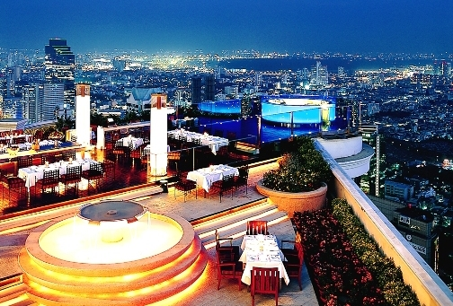 Night View of Sirocco Skybar, Labua Hotel at State Tower, Bangkok