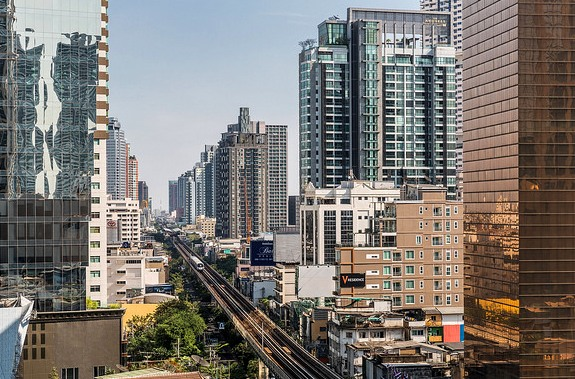 View of Sukhumvit Road and Skytrain from Emporium Shopping Mall, Bangkok