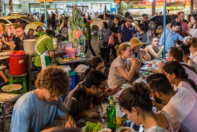 Restaurant in a Chinatown Street, Bangkok, Thailand