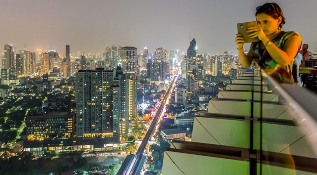 Sukhumvit Road from Octave Rooftop Lounge Bar, Marriott Sukhumvit, Bangkok, Thailand