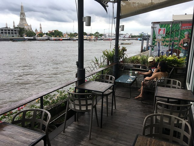Wat Arun and Chao Phraya River from ViVi The Coffee Place, Maha Rat Road, near Wat Po, between Tha Tien Pier and Rajinee Pier, Rattanakosin Island, Bangkok, Thailand