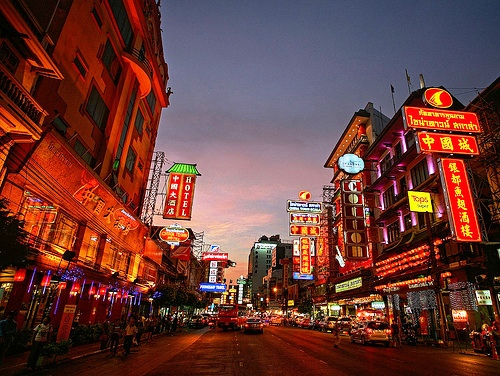 A Night Photo of Yaowarat Road, Chinatown, Bangkok