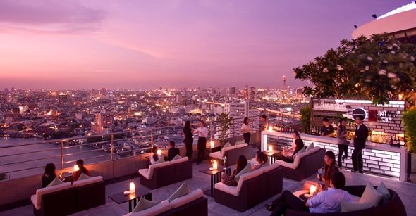 Outdoor area, Three Sixty Lounge, Millennium Hilton, Bangkok, Thailand