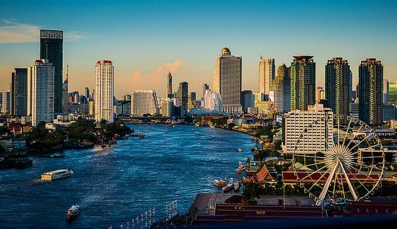 View of Bangkok from Asiatique The Riverfront, Thailand