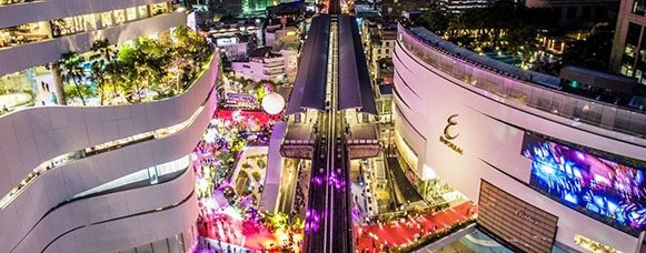 EmQuartier and Emporium Shopping Malls on Sukhumvit Road, Bangkok, Thailand