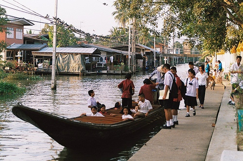 Children Leaving School in a Boat, Klong Bangmod, Thonburi, Bangkok, Thailand