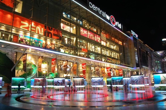 Fountain at Central World, Siam, Bangkok, Thailand