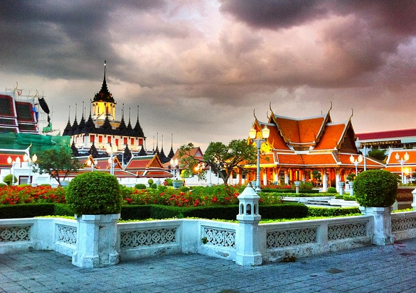 Poto of Wat Ratchanatda Temple in Bangkok, Thailand