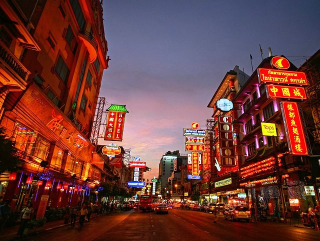 Yaowarat Road at Night, Chinatown, Bangkok, Thailand